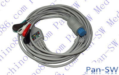 Datex one piece five lead ECG cable with leadwire