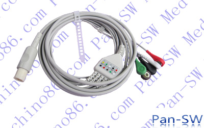 Hellige one piece five lead ECG cable with leadwire