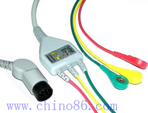 Nihon Kohden one piece three lead ECG cable with leadwire