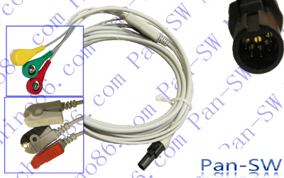 Welch Allyn Propaq LT one piece three lead ECG cable with leadwire